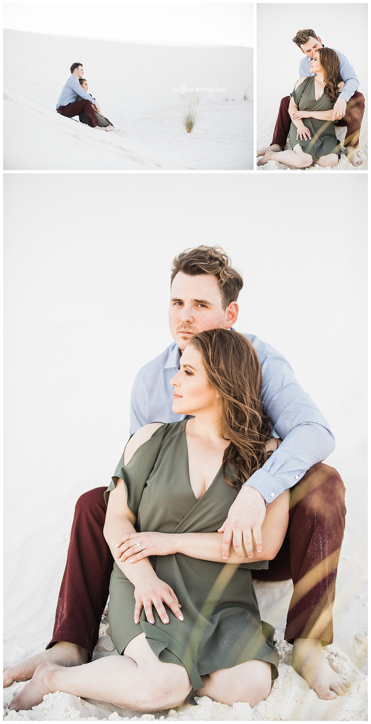white sands engagement session