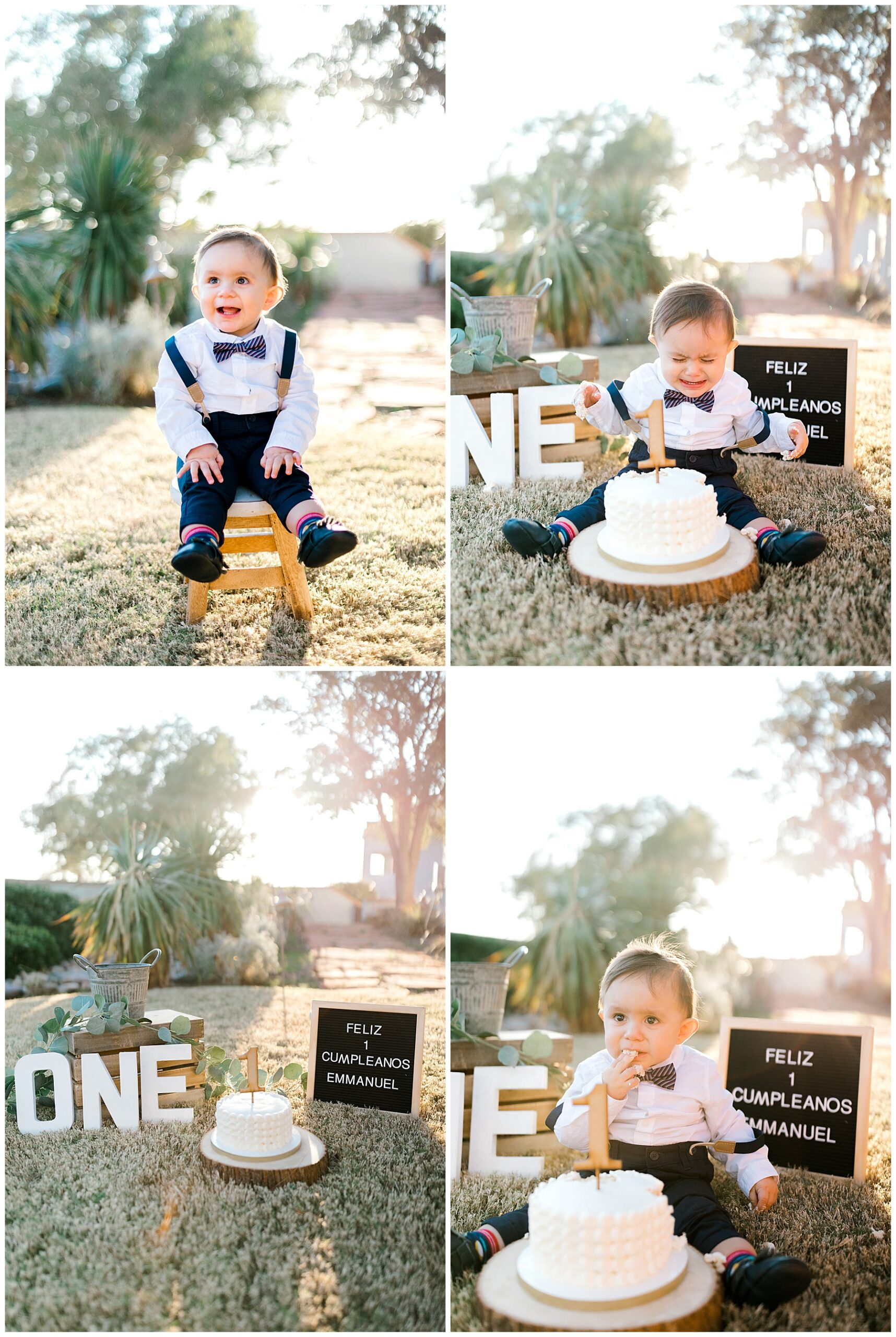 el paso cake smash, rustic cake smash session, boy cake smash, el paso birthday photographer, outdoor cake smash, el paso family photography